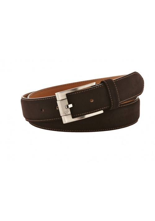 Heinrich Dinkelacker belt suede darkbrown